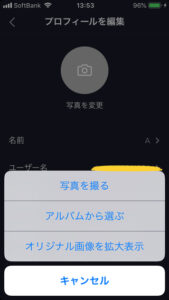 TikTokアイコン編集画面