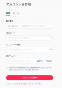 TikTokビジネス登録画面2
